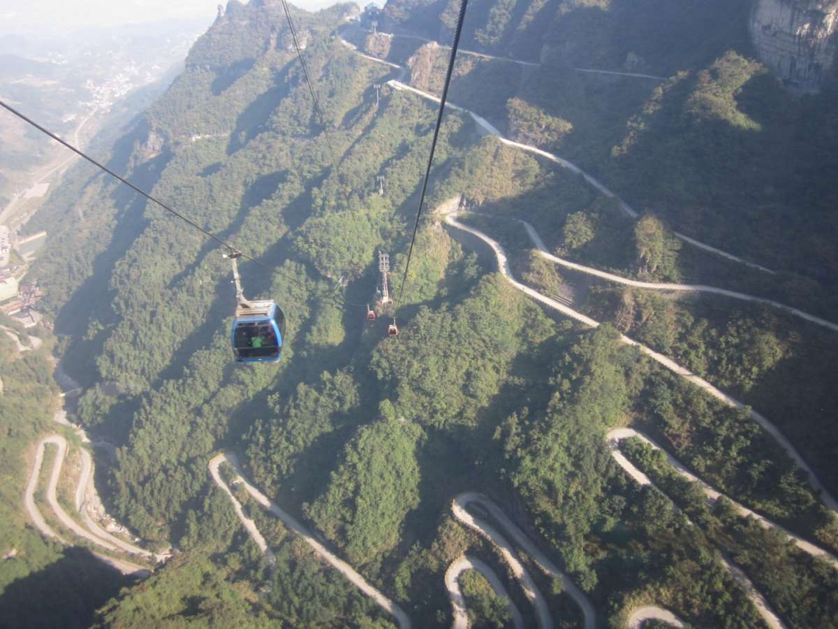 Tianmen Mountain Road dall'alto