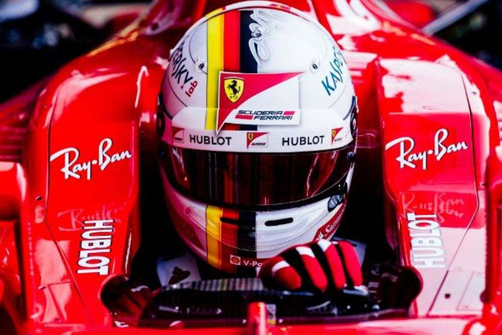 Test Barcellona F1 2017, Vettel in auto