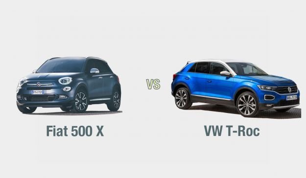 Fiat 500 vs VW T Roc esterni